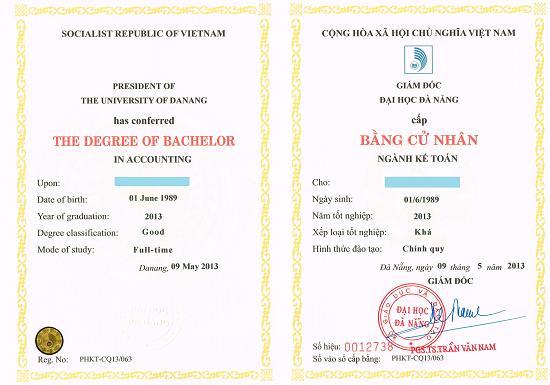 Mẫu bằng tốt nghiệp của Phân hiệu Đại học Đà Nẵng tại Kon Tum